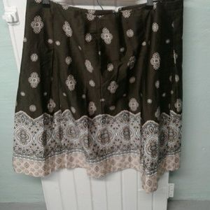 Charter Club olive green/ brown paisley skirt.  14